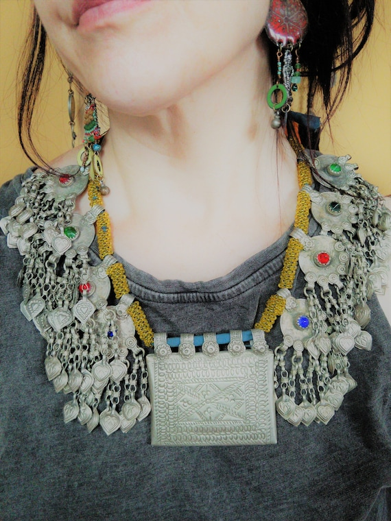 Vintage Tribal Necklace Jingling Pendants with Hearts Baloch Jewelry (#6573)