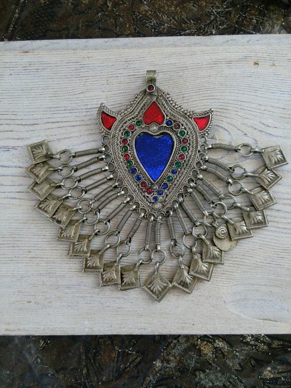 "Kuchi Tribal  Heart Pendant with Chamsa Accents Talisman 5.25"" (#7260)"