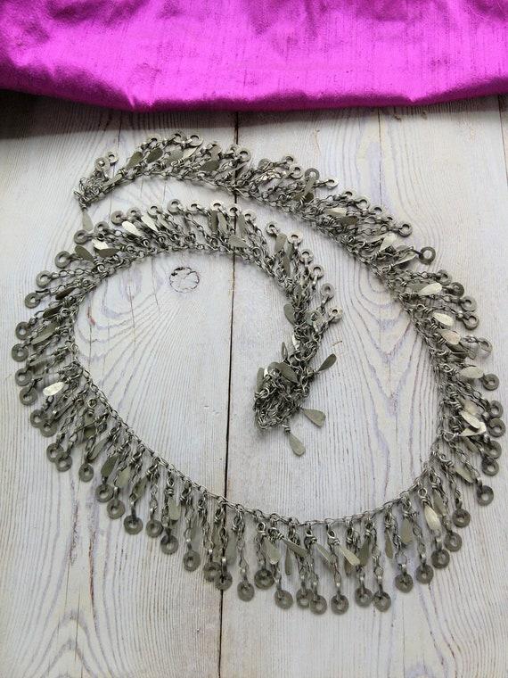 """Pretty Oxidized Tribal Chain Vintage Kuchi Jewelry Supply 36 x 1.5"""""""