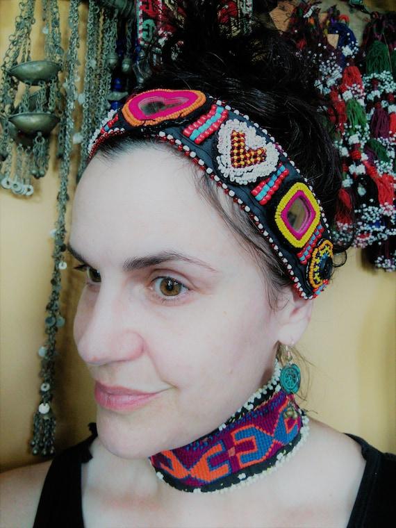 Beaded Tribal Headband Belt Extender or Choker (#6322)