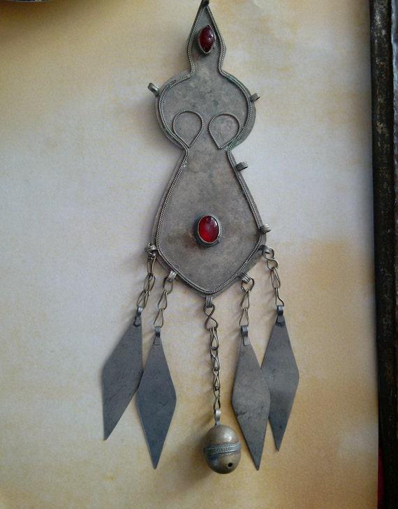 Long Vintage Turkmen Adamlyk Figurative Pendant with Bell Accent (#7336)