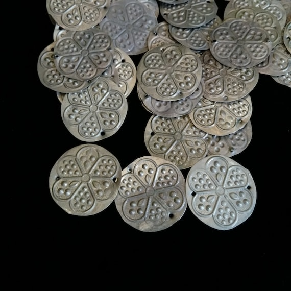50 Tribal Amulets Medallions with Stamped Floral Motif