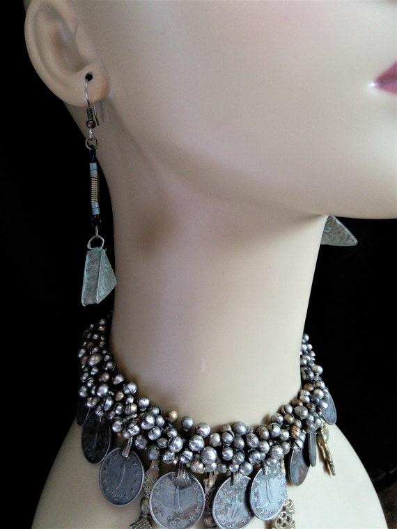 """Tribal Earrings Eclectic Boho Jewelry 3.8"""" Long"""