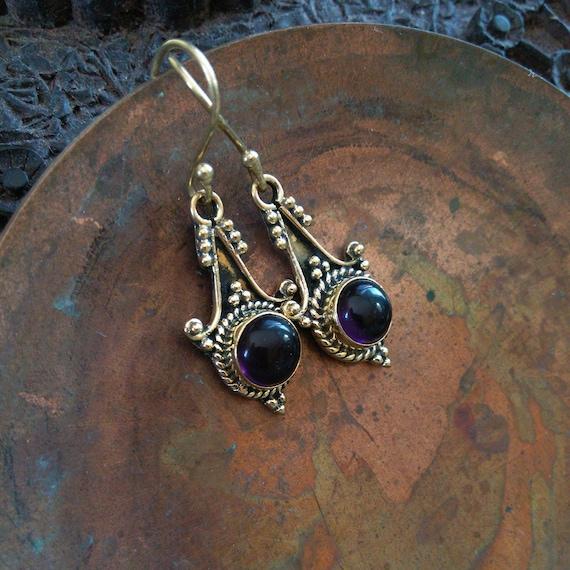 """Golden Brass Earrings with Amethyst 1.5"""" (#7060)"""