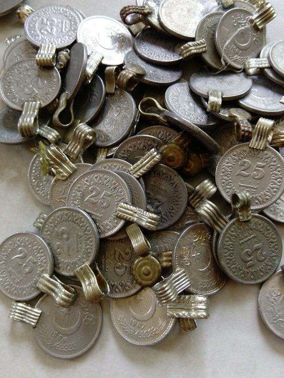 50 Extra Small XS Vintage Kuchi Tribal Coins SIMILAR Style