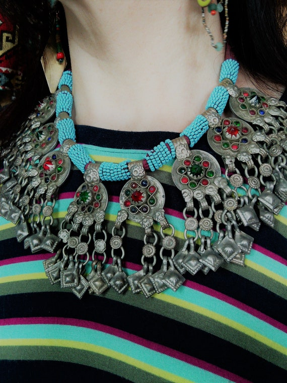 Vintage Tribal Pendant Necklace Balochi Ethnic Adornment (#6554)