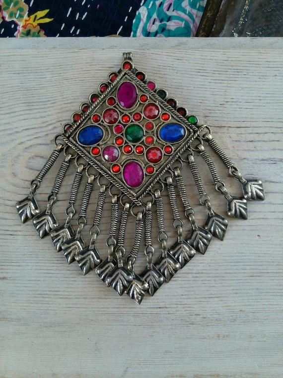 "Kashmiri Tribal Jewelry Pendant Hamsa Dangles 5"" (#7261)"