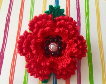 2 Pcs Crystal Red Flower Poppy Brooches Hero Veterans Memorial Day Remembrance Gifts