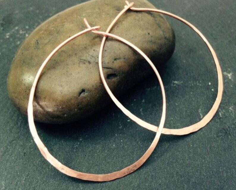 Copper Hoop Earrings Thin Wire Metal Hammered Flat Hoops image 1