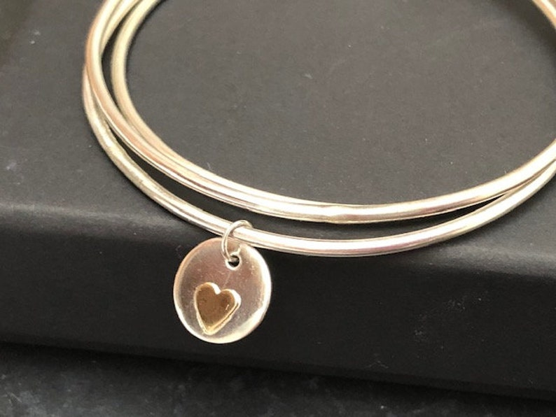 Heart Bracelet Silver Bangle Set Sterling Silver Heart Charm Bracelet Bracelets Silver Bracelets For Women Bangles For Women