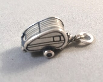 Petit voyage 3D Remorque Charme Collier-Argent Sterling 925 Camping Air Stream