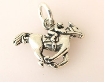 Sterling Silver 3-D HORSE & JOCKEY Charm Pendant Equestrian Equine Horse Riding Racing Race Jumper Horseback .925 Sterling Silver New hs18