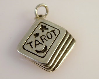 Sterling Silver 3-D TAROT CARDS Charm Pendant Fortune Teller Deck Reading .925 Sterling Silver New hb04
