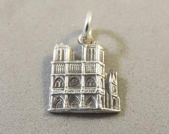 NOTRE DAME de Paris Cathedral .925 Sterling Silver Charm Pendant France Europe Landmark Catholic Church Monument Travel Places New tr160