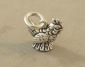CHICKEN / HEN .925 Sterling Silver 3-D Charm Small Tiny Pendant Bird New bi65