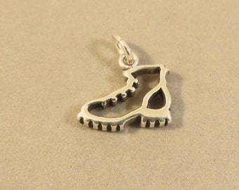 Sterling Silver HIKING BOOT Charm Pendant Outline cut-out Work Shoe Ankle Boot High top .925 Sterling Silver New du78