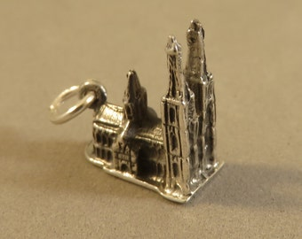 Sterling Silver 3-D KOLN CATHEDRAL Charm Pendant Europe Germany Cologne Church Rhine Gothic Spires .925 Sterling Silver New tr77