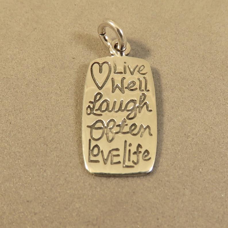 Live Love Laugh encanto plata esterlina 925