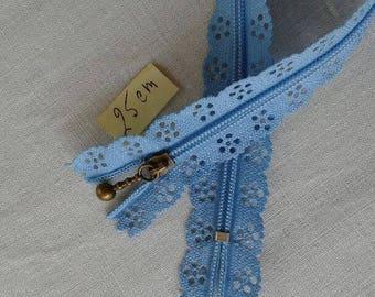 Zipper lace blue 25 cm