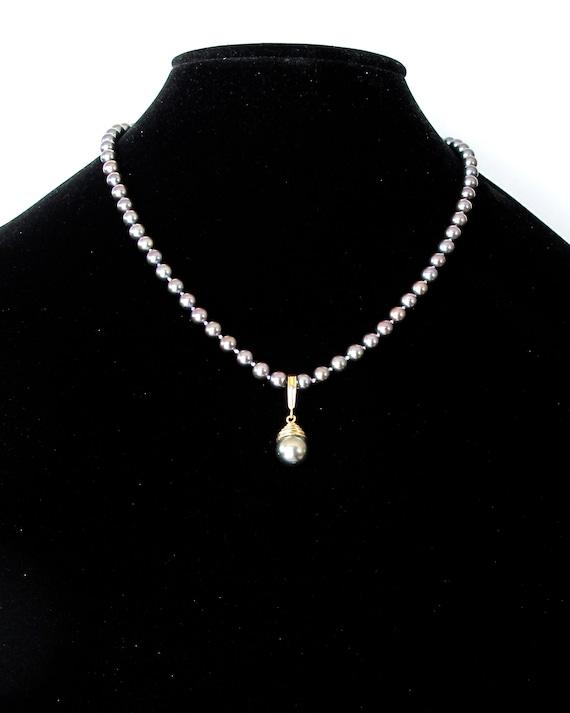 10-11mm Tahitian Black Pearl 14K Yellow Gold Diamond Pendant SFP301787YTA
