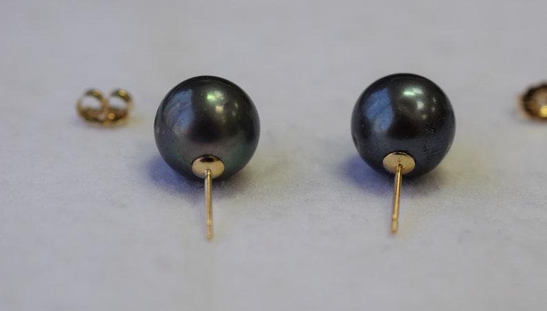 10.5x10mm Freshwater Black Pearl Stud Earrings 14K Yellow Gold