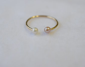 Pink and white freshwater pearl ring - midi ring, fashion ring, dainty ring