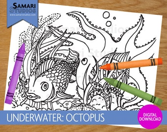 Underwater: Octopus - Hand Drawn Printable Coloring Sheet - Kids Coloring Page - Instant Download - Printable