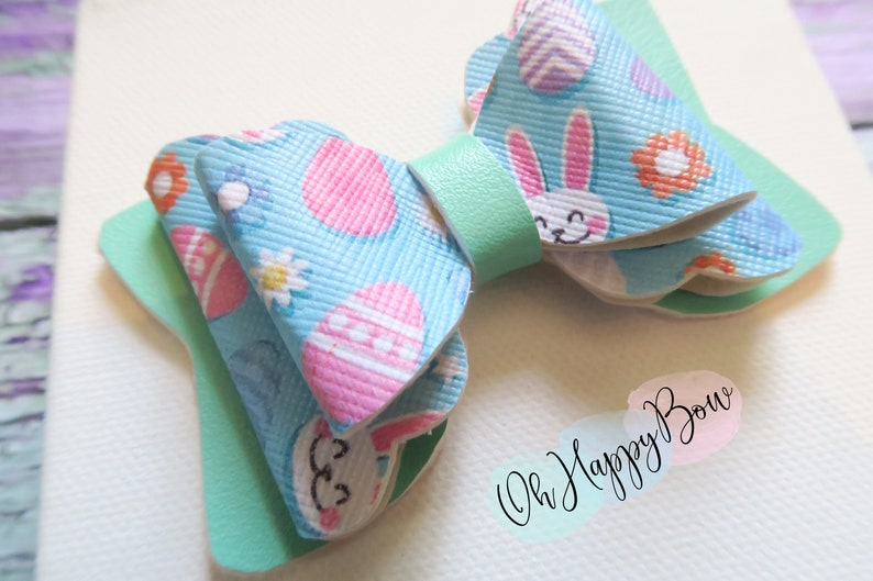 Easter hairbow-bunny bow-stacked bow-eggs-spring bow-girls bow-newborn-pigtails-baby girl-handmade bow-faux leather bow-hair clip-headband