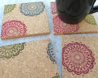 Multicolor Mandala Coaster Set, 4pc thick cork coaster set, handstamped natural absorbent cork