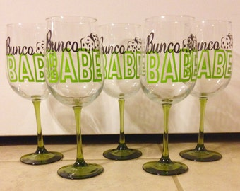 Customized bunco wine glass