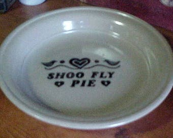 Moira Stoneware Shoo Fly Pie Plate-Vintage Bakeware-Pastry Plate-Vintage Stoneware-Primitive Farm Country