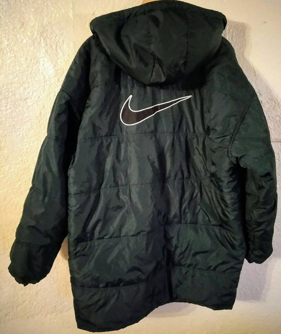 elegant and graceful details for real deal Vintage Nike air quilted hooded trench jacket size XXL