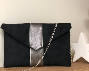 Evening clutch, black and gray iridescent suede, silver sequins / black wedding clutch, customizable, detachable chain