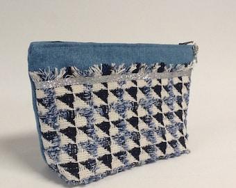 Sequin Jeans Sequin Makeup Case / Denim Clutch / Blue Denim Kit, Silver / Jewelery Clutch / Mother's Day