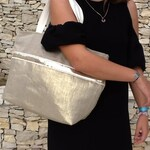 Large shopping bag in pure golden linen / Tote in linen and sequins / Elegant beach bag Vanessa Bruno style / Linen sequined shoulder bag