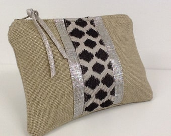 Women's purse linen and ethnic fabric, beige linen and silver linen / wallet and cards ethnic for women / small bag pouch / womens gift