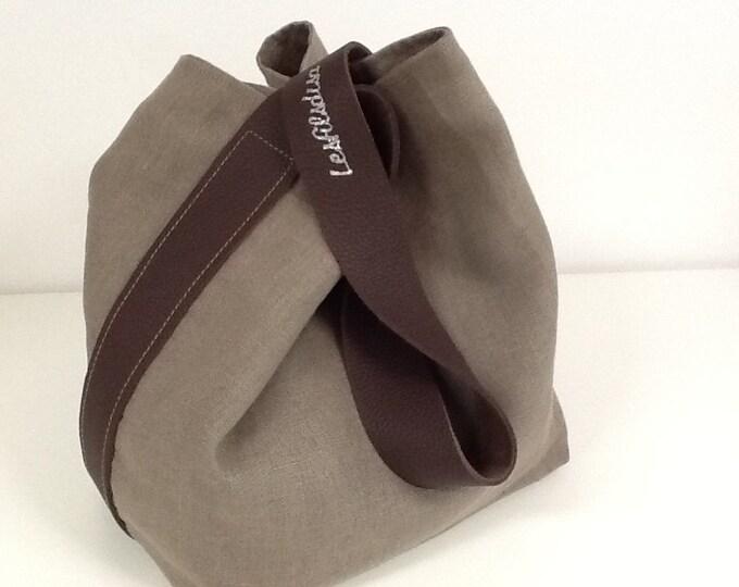 Featured listing image: Sac seau en lin lavé écorce et anse cuir marron surpiquée, poche intérieure / Sac souple en lin lavé écorce et cuir marron / Tote bag lin