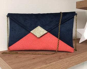 Bleu marine Petite pochette de soir/ée bleue marine enveloppe avec d/étails argent/és Shopping-et-Mode Simili-cuir