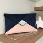 Navy blue and powder pink wedding bag, silver glitter / Customizable evening bag with chain / Night blue shoulder strap bag to custom