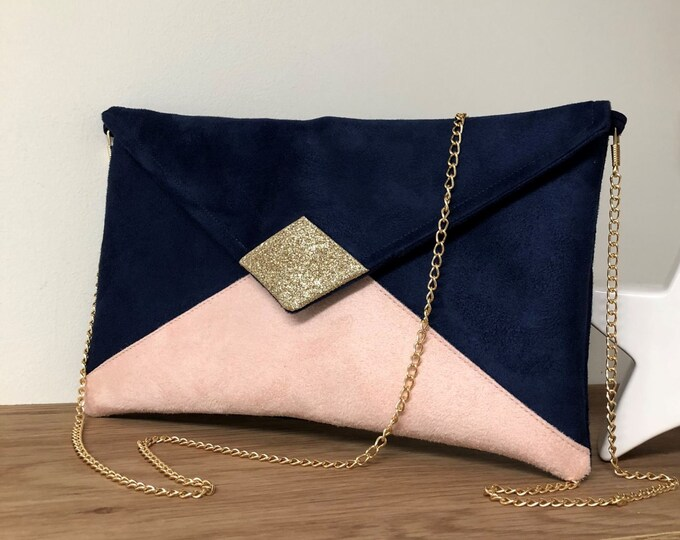 Featured listing image: Sac pochette mariage bleu marine, rose poudré, avec paillettes dorées / Pochette soirée personnalisée, suédine, chainette dorée amovible