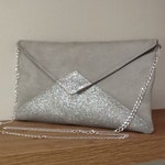 Pearl gray wedding clutch bag in suede, with silver sequins / evening envelope pouch, sequins, customizable / woman  gray clutch