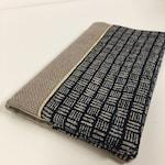 Sangokuzuschi and linen Japanese fabric checkbook holder / Beige and blue checkbook case, gold trim / Customizable checkbook cover