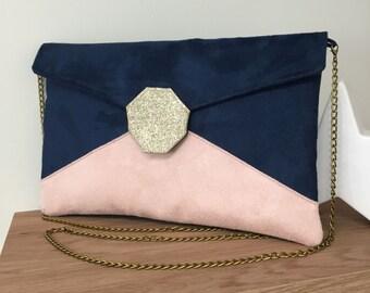 f1b45446f9 Pochette mariage bleu marine, rose poudré, paillettes dorées / Sac pochette  soirée personnalisable suédine paillettes / Sac à main chaînette