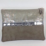 Ipad pouch or custom-made tablet / Zipped silver glitter mole case / Kindle cover with suede reading light / Digital book protection