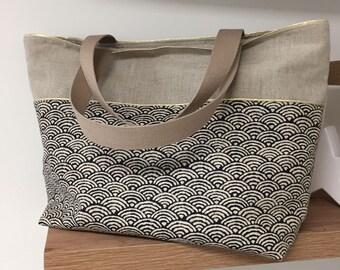 7345b109ad Cabas en lin et tissu japonais bleu nuit, beige, doré / Grand sac shopping  en lin motif japonais et liseré doré pour femme / Large tote bag