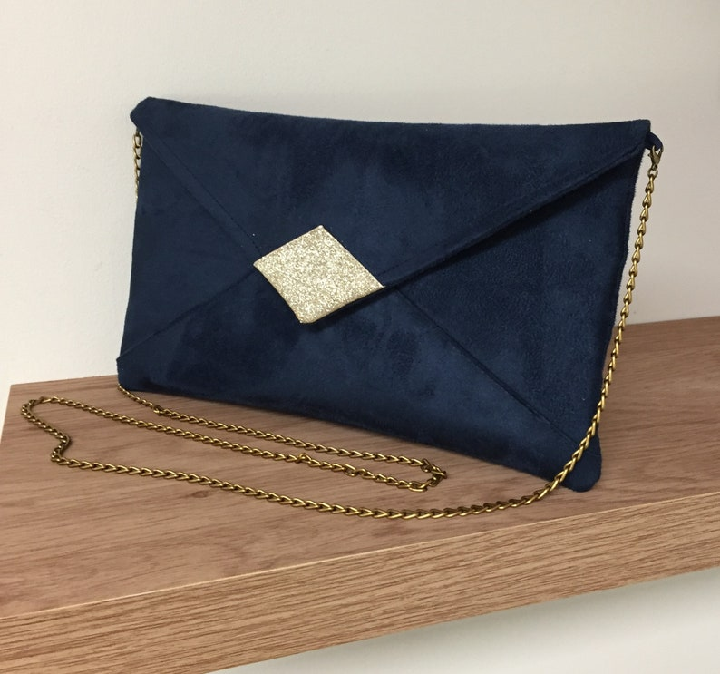 Evening bag in navy blue suedette and gold spangles with image 0