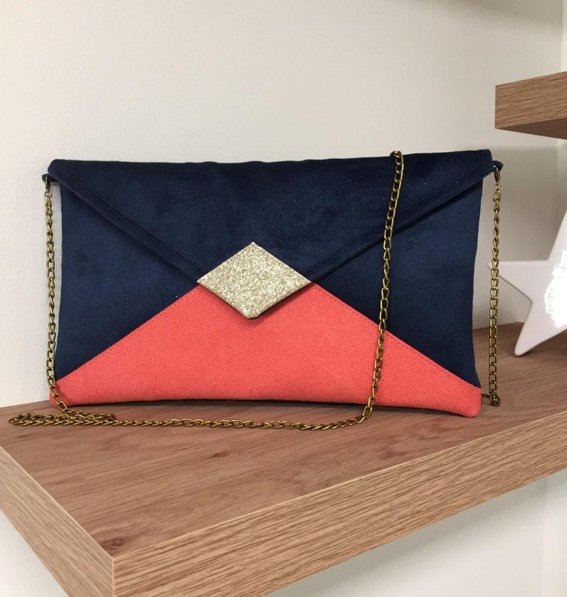 Evening bag navy blue and living coral wedding golden image 0