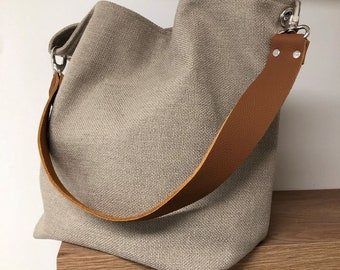 Beige linen hobo bag with removable camel leather handle / Shoulder bag, sportswear style / Canvas tote bag, large soft leather handle
