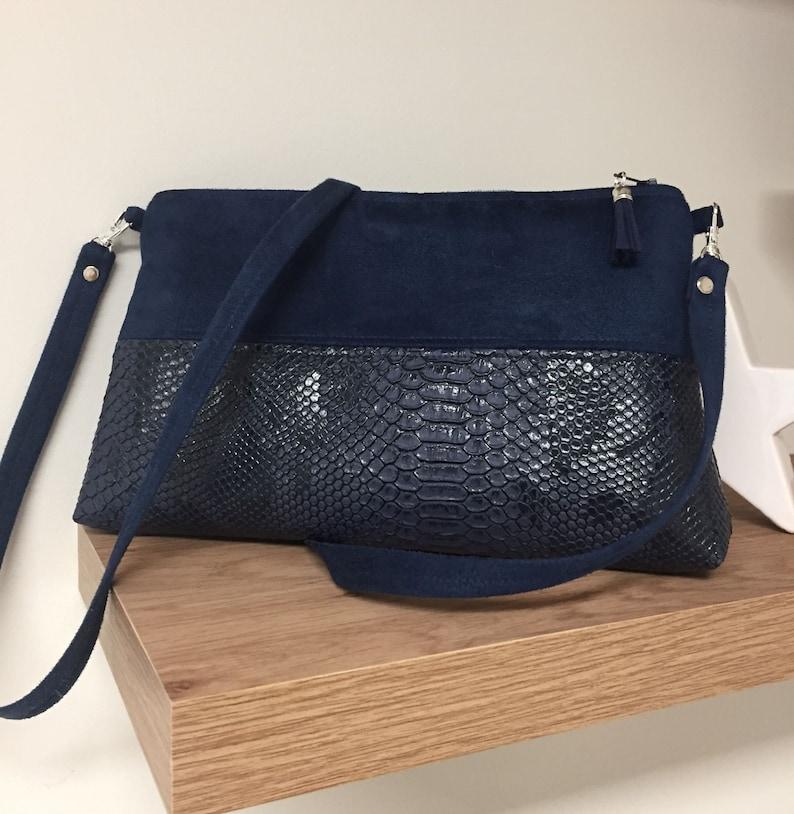 Navy blue wedding bag / Suede shoulder bag crocodile image 0