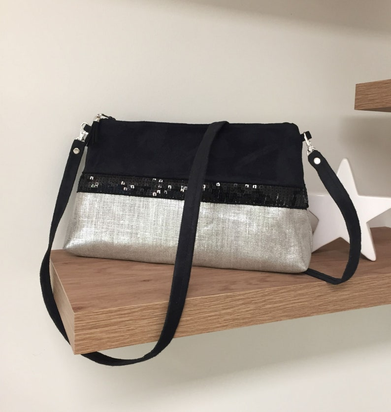 Removable shoulder bag black and iridescent linen sequins / image 0